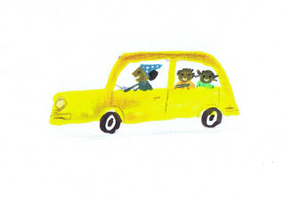 sketch of kids going school in yellow car