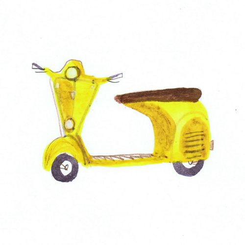 drawing of an yellow scooter