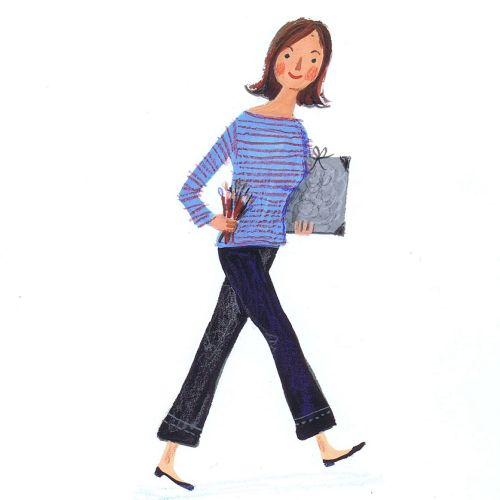 Illustration of walking lady
