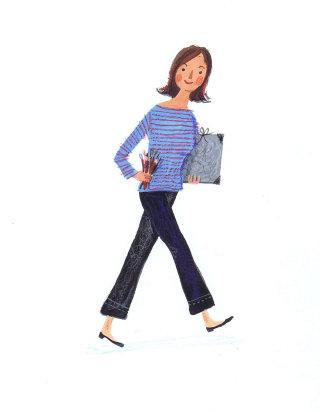 Illustration of walking lady