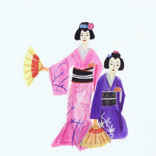 Illustration of girls in Japanese costume