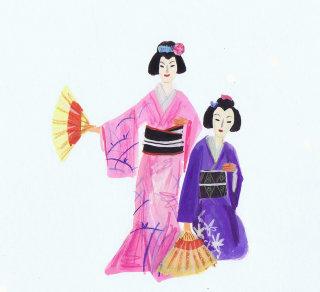 Illustration of girls in Japanese costume