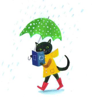 Illustration of black Cat with umbrella