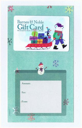 Illustration of Christmas gift card for Barnes & Noble