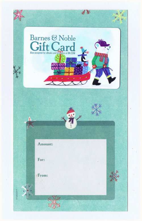 Illustration of Christmas gift card for Barnes & Noble