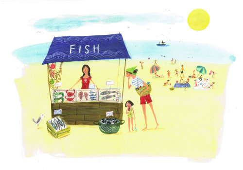 Illustration of fish stall at beach