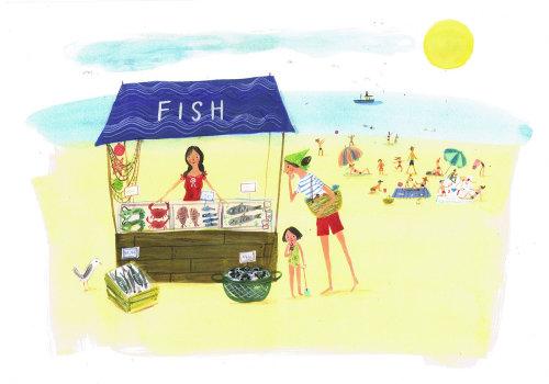 Illustration de l'étal de poisson à la plage