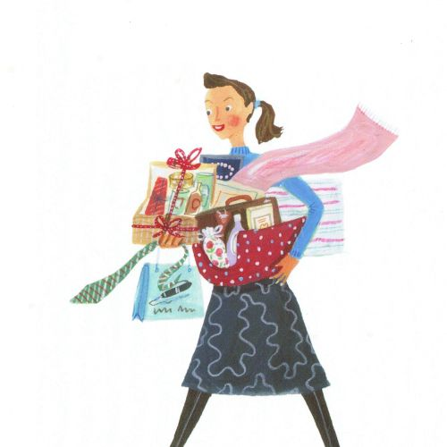 Illustration of girl with the housekeeping goods