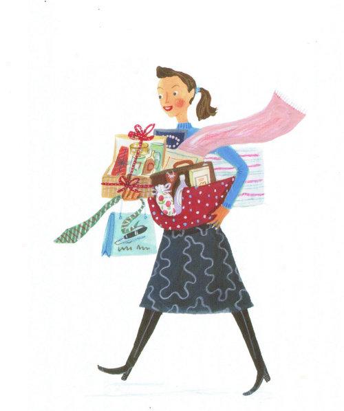 Illustration de fille avec les produits d'entretien ménager