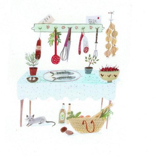 scène d'une cuisine avec un chat