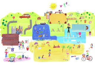 Abstract of city with happening activities