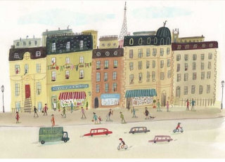 Art work of paris street with cars