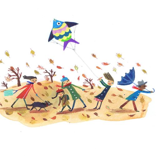 Color painting of kid flying a fish Kite