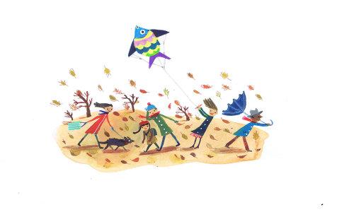 Peinture couleur d'enfant volant un cerf-volant de poisson
