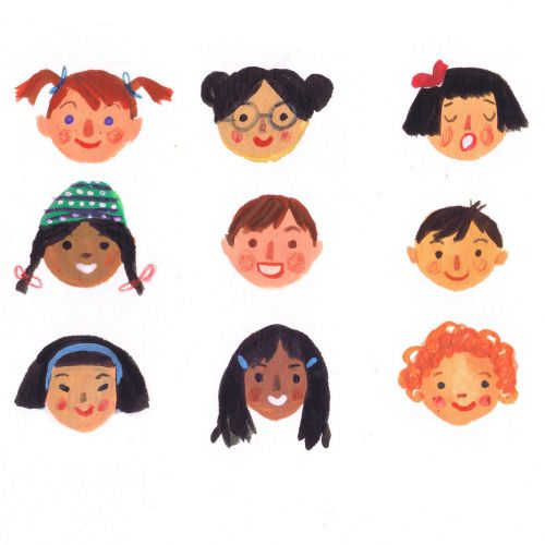 Girl emotion faces cartoon  illustration.