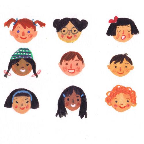Girl emotion faces cartoon  illustration.