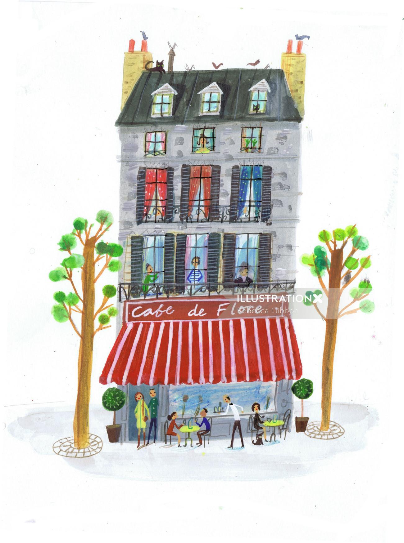 drawing of paris famous restaurant cafe de flore