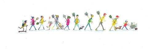 Peinture de gens qui marchent avec des enfants