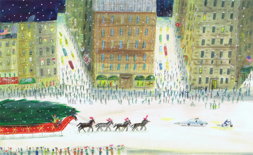 watercolor of christmas evening in paris