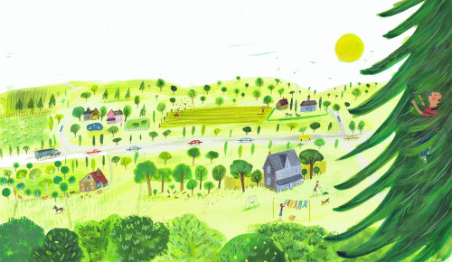 sketch of countryside view