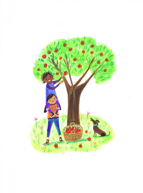 sketch of kids plucking apples