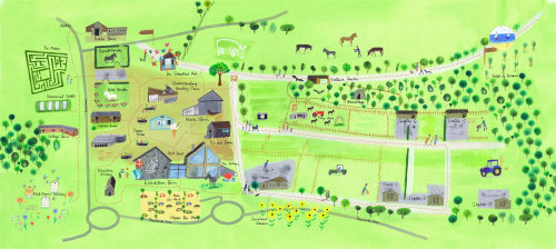map illustration of a green farm