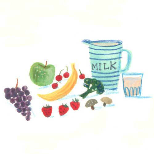 drawing of milk and fruits