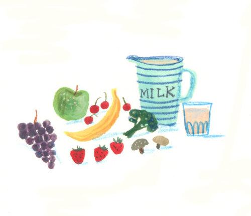 dessin de lait et de fruits