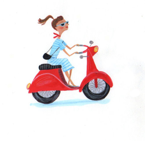 lady riding a red scooter
