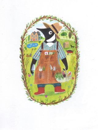 anthropomorphism of farmer on his land