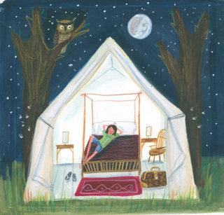 boy enjoying night in tent