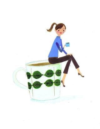 lady enjoying tea on a tea shaped chair