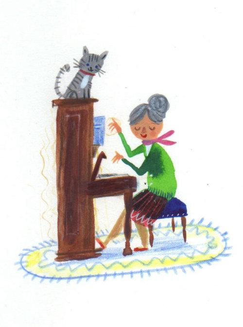 chat écoute la musique de la vieille dame
