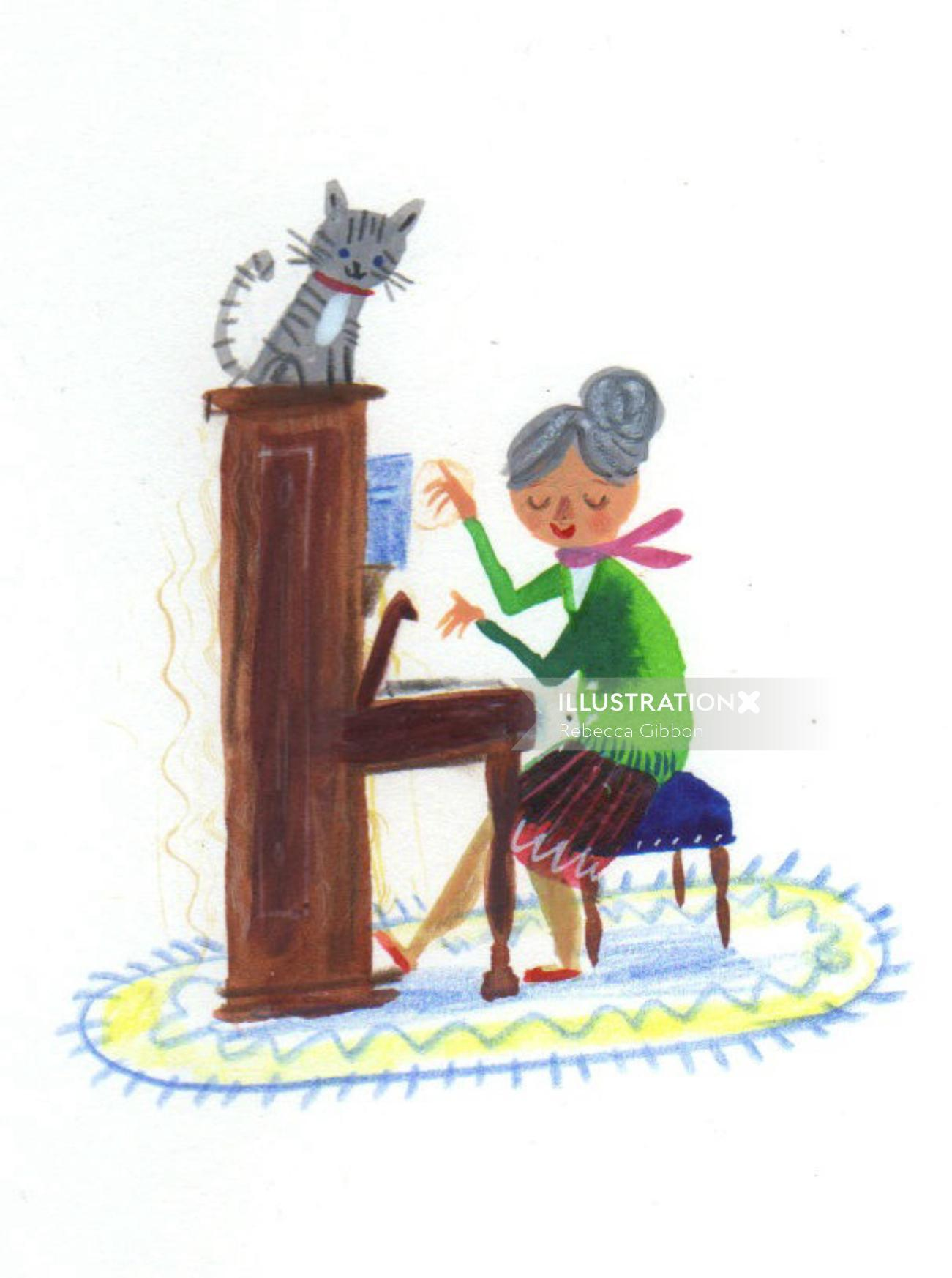 cat listening music by old lady