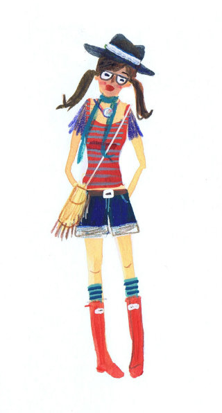 sketch of a teenage girl in red boots