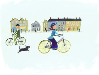 dog following a lady on cycle