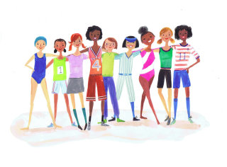 artwork of girls from varied nations together
