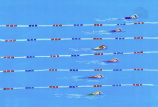 swimmers competing