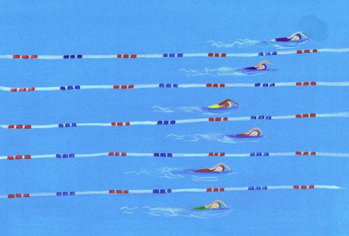nageurs en compétition