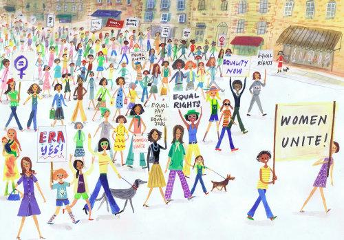 croquis de femmes s'unissent pour leurs droits