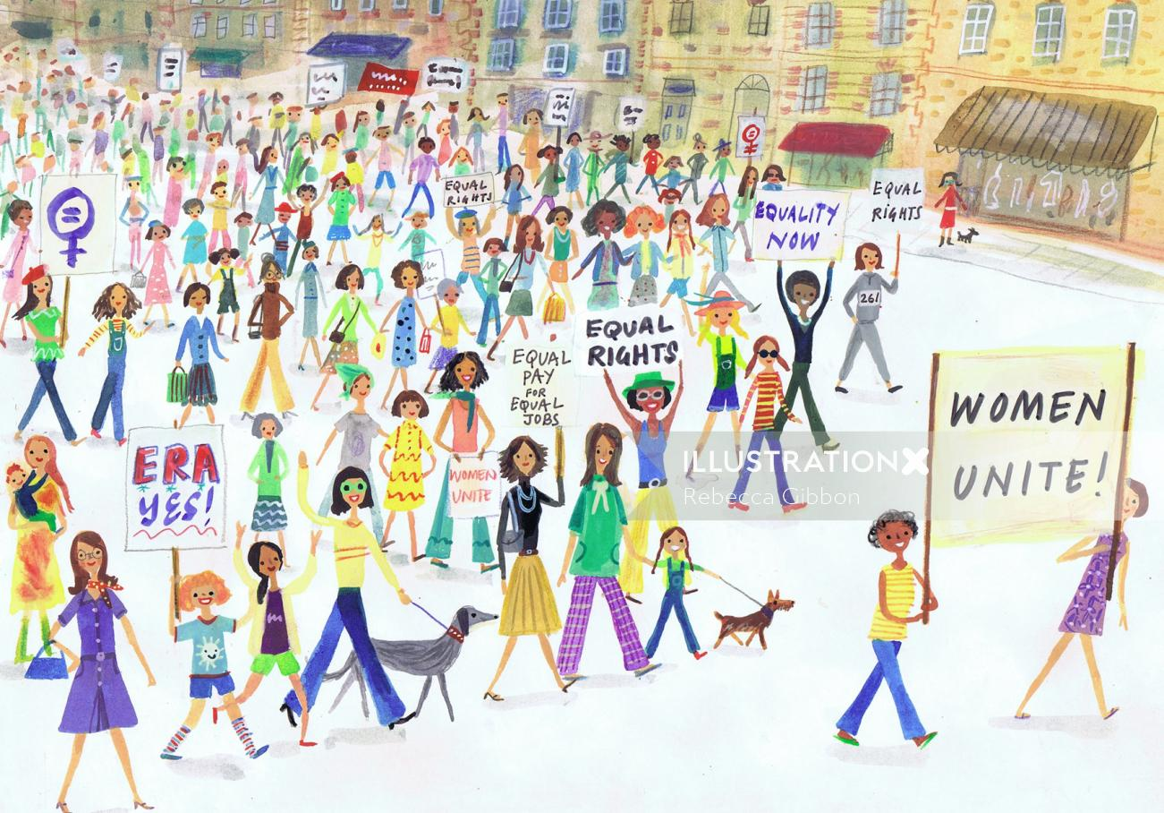 sketch of women unite for their rights
