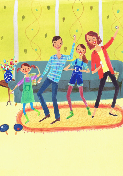 Children illustration family dance