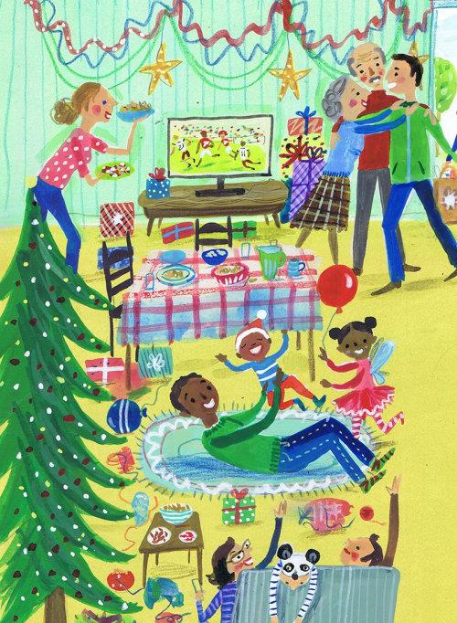 Children illustration family enjoying christmas