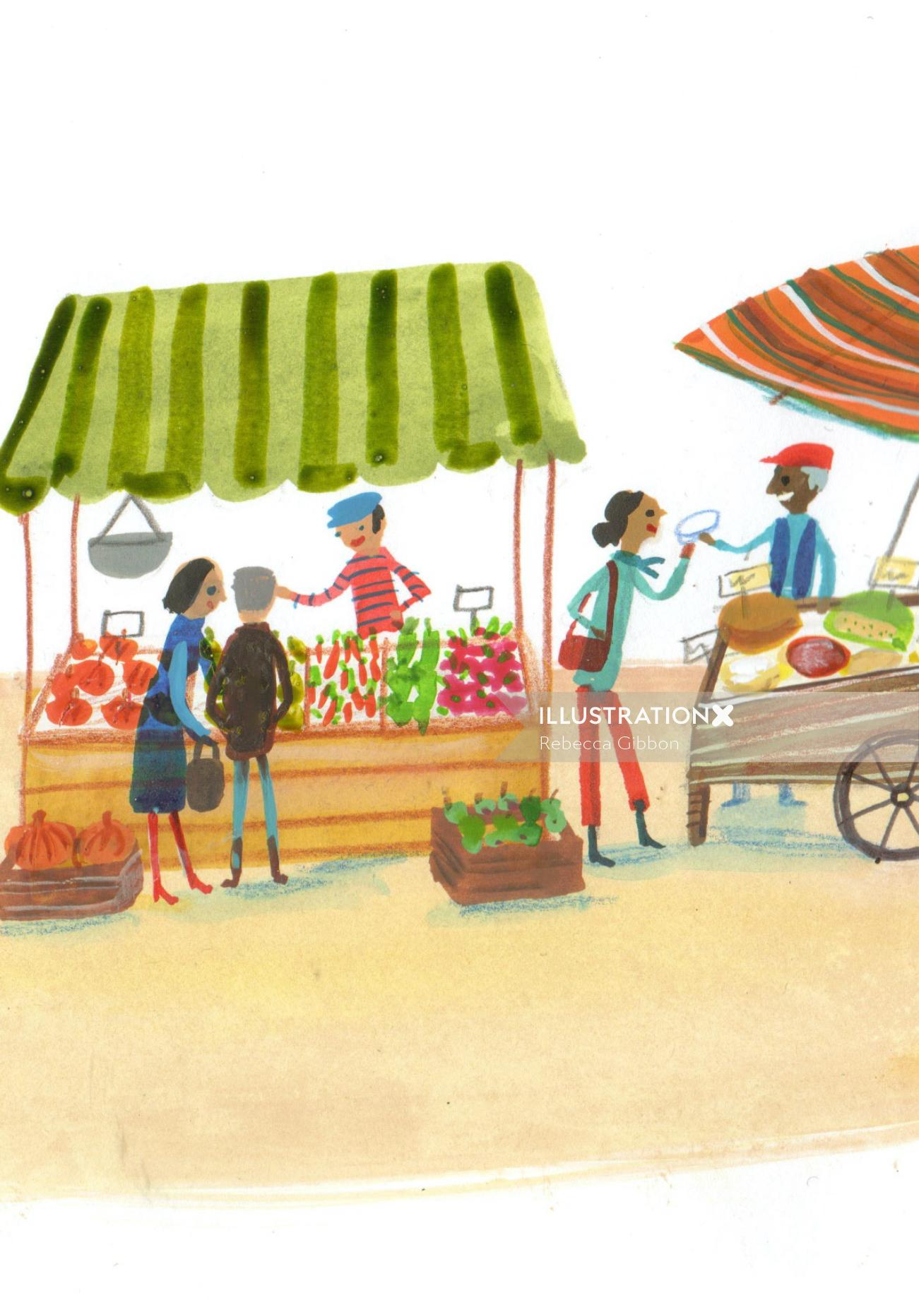 People shopping in the market