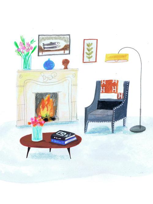 Illustration of living room