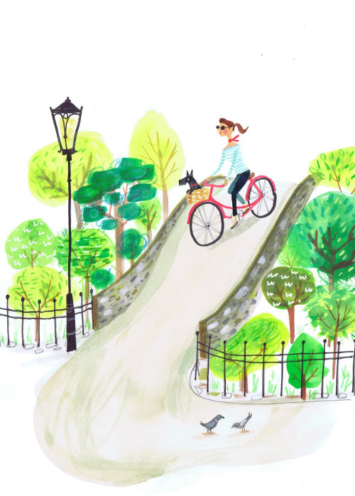 Children illustration cycling in park