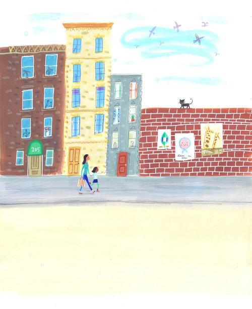Children Mother walking on the street