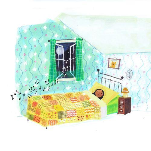 Children illustration music from window