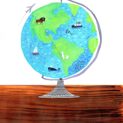 Travel illustration globe