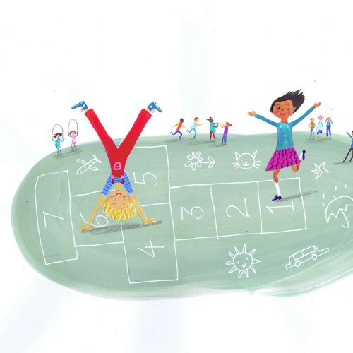 Children illustration playing outdoor
